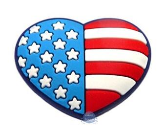 1 pins clip shoe charm American flag heart USA Flag Heart Charm Rubber fit Jibbitz Croc