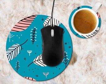 Custom mouse pad, computer mouse pad, blue mousepad, mousepad with leaves,mouse pad nature, teal mouse pad, mouse pad and coaster set custom