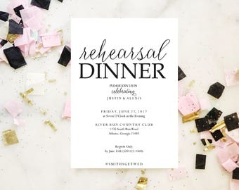 2017 SALE: Rehearsal Dinner invitation template, rehearsal printable, modern, invitation templates, wedding rehearsal, pdf instant download