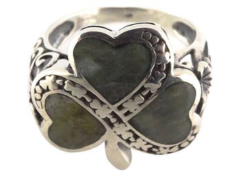 Gents//Connemara Marble//Shamrock ring//green stone//silver//gift from Ireland//Celtic//gift for him//green shamrock//vacation//accessory