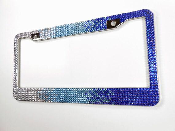Blue Ombre Rhinestone License Plate Frame 7 Row Bling Frame