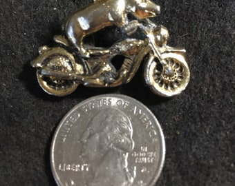 flying pig on motorcyle pin