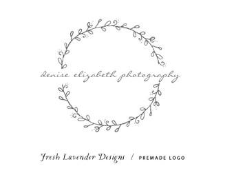 Custom Logo - Logo Design - Hand Drawn Logo - Wreath Logo - Premade Logo with Leaves - Affordable Logo - Modern Logo - Business Logo