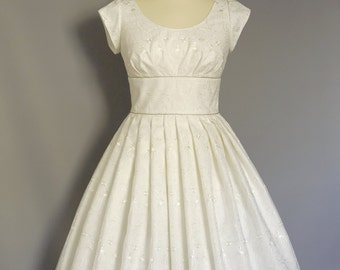 UK Size 16 Ivory Embroidered Organza Wedding Dress- Made by Dig For Victory