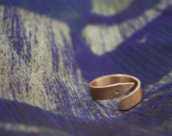 Bronze Circle Point Ring, Geometric Bronze Ring