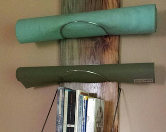 Yoga Mat Storage Shelf - yoga, yoga supplies, yoga storage, yoga mat, book shelf,