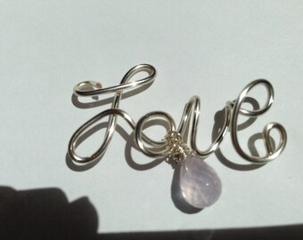 Love, Silverplate, romantic Etsy jewelry, Lilyb444