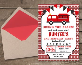 Fire Truck Invitations, Fire Truck Birthday Invitation, Boy Birthday Invitations, Fireman Birthday, Printable Fire Truck Invitation