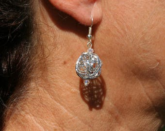 Silver coloured metal ball earrings