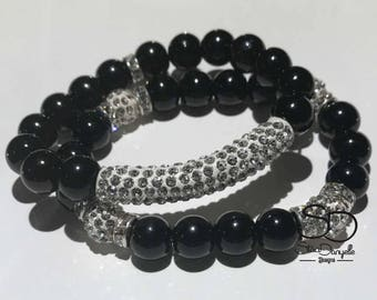 10mm Black Glass Beaded Bracelet Set with Silver Pave Crystal tube and accents