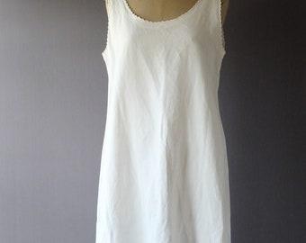 """1920s white linen slip dress, 40"""" bust, monogram ED"""