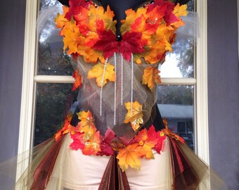 Orange, red, brown and yellow autumn leaf fall nymph fairy rave modeling bra and shorts costume