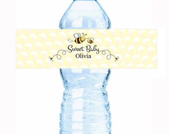 """Sweet Baby Bee Baby Shower Water Bottle Labels - Select the quantity you need below in the """"Pricing & Quantity"""" option tab"""