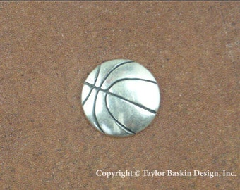 Basketball Jewelry Scrapbooking Charm Finding in Antique Silver Plate (item 1524 AS) - 6 Pieces