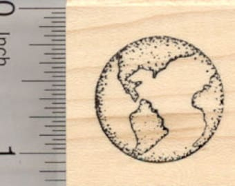 Planet Earth Rubber Stamp, World, Globe, Small D25135 Wood Mounted