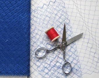 Vintage Veil Royal Blue 1950s Silk French Veiling