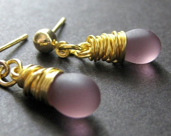 Purple Earrings Wire Wrapped in Gold with Post Backs and Frosted Glass Teardrops. Handmade Jewelry by Gilliauna