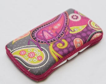 Personalized Wipes Case - Pink Purple Grey Paisley
