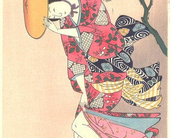 "Japanese Ukiyo-e Woodblock print, Ishikawa Toyonobu, ""Beauty in the Wind"""