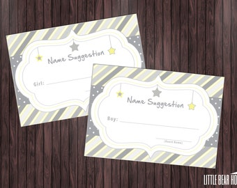 Printable Twinkle Twinkle Little Star Themed Baby Shower Name Suggestion Cards