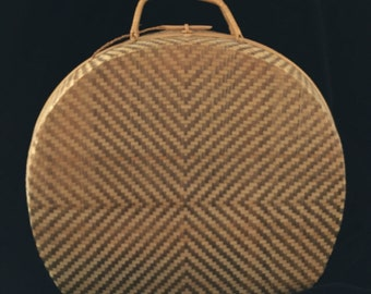 Large Round Vintage Bamboo and Straw Basketweave Purse
