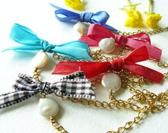 Coin Pearl Chain Bracelet With Taffeta Ribbon Bow