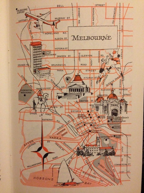 Melbourne Map Decor City Of Melbourne Australia Vintage - Vintage maps melbourne