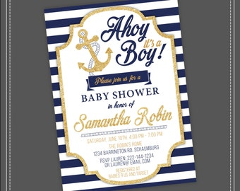 20%OFF SALE Nautical Baby Shower Invitation, Ahoy Itu0027s A Boy, Blue And