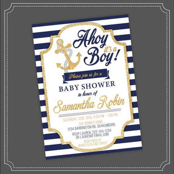 20off sale nautical baby shower invitation ahoy its a like this item filmwisefo Images