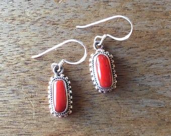 Genuine Coral Earrings, Genuine Coral Sterling Silver Filigree Earrings, Coral Jewellery, Red Earrings, Coral 925 Sterling Silver Earrings