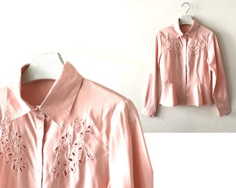 "1980s pink blouse XS / S ""Sofie"" cut out embroidery vintage blouse shirt, pink long sleeve vintage peplum blouse, us size 4 6, 80s clothing"