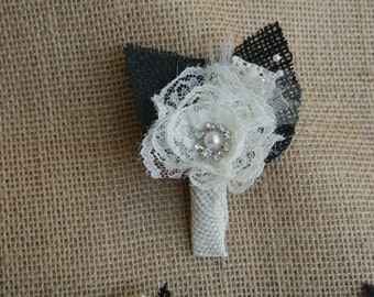 Custom Burlap & Lace Boutonniere/Corsage - Single Off-white Rose with Black/Off White burlap