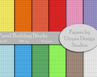 Digital Paper Pack - Pastel Building Blocks