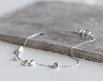 Dainty silver bracelet, charm bracelet with silver beads, personalized