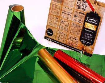 CRAFTING FOIL Kit from CRAFTERs COMPANION - Red Green and Gold Foil rolls with Transfer sheets !!