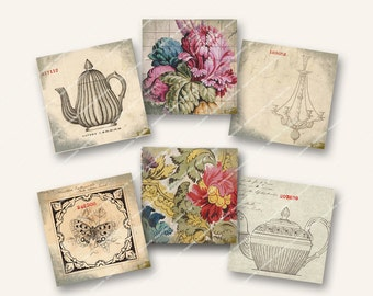 2in CHANDELIERS, TEAPOTS, BUTTERFLIES shabby chic vintage teapots for cardmaking decoupage  MagentaBelle digital collage sheet 16
