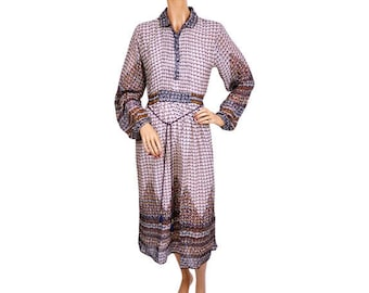 Vintage 1970s Indian Cotton Gauze Dress - Printed ZigZag Pattern - NOS - Deadstock - Medium