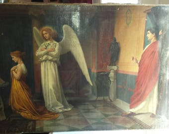 Vintage 1865.  Artist C. Goldie. Religious Themed Oil Painting on Canvas. This Masterpiece is 48x36. Signed by the Artist and dated 1865.