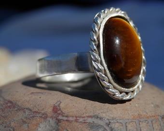 Golden Glints Tiger Eye Ring Sterling Silver