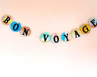 Bon Voyage Banner- World Map Farewell Garland / Banner- Map Decor - Bon Voyage Party- Farewell Party Decoration
