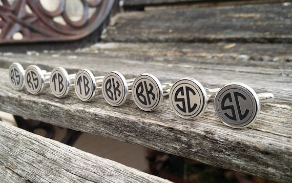Monogram Cufflinks. CHOOSE YOUR LETTERS. Wedding, Men, Groom, Groomsmen Gift, Dad. Custom, Personalized. Gold Or Silver