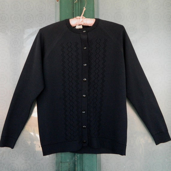 Vintage 1970s Dotty Mann of Cleveland Cardigan Sweater -38- Black Polyester