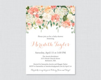 Peach Baby Shower Printable or Printed Invitation - Peach and Cream Flower Baby Shower Invites, Peach and Green Baby Shower Invite 0067
