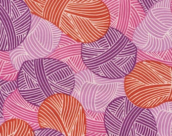 Organic Cotton Quilting Fabric Cloud 9, Wound Up Yarnies Red, Broadcloth