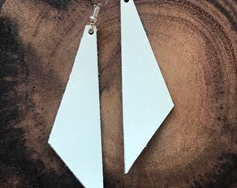 Perfect Angle Leather Earrings {Heavenly White}