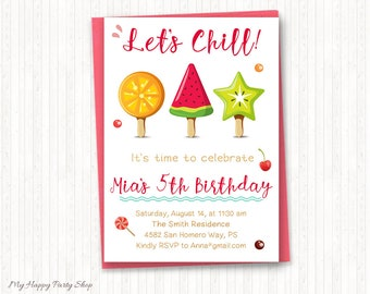 Popsicle Birthday Invitation, Summer Birthday, Girl Birthday Invitation, Summer Party, Fruits, Popsicle Theme, PRINTABLE - KG010