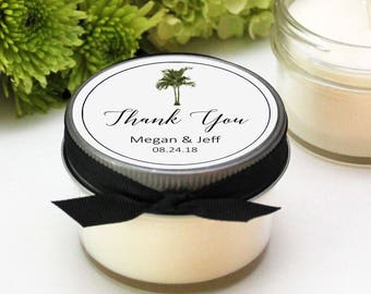 Vintage Palm Tree Wedding Favors | Soy Candle Favors | Tropical Wedding Favors | Wedding Favor Candles | Tropical Favor Labels |  Set of 12