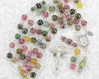 Tourmaline Gemstone Catholic Women's Rosary - Sterling Silver Crucifix - Handmade, Heirloom Custom Rosaries, Gifts for Her | Baptism Gift