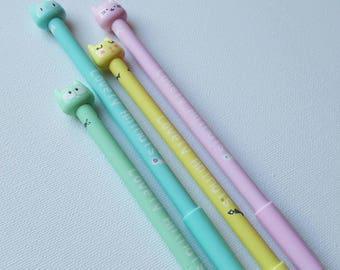 Pastel Cat Face Pen - fun stationery, animal pen, black ink pen