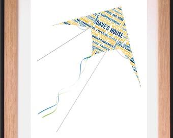 Flying Kite Word Art Gift